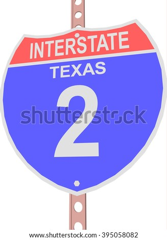 Interstate highway 2 road sign in Texas