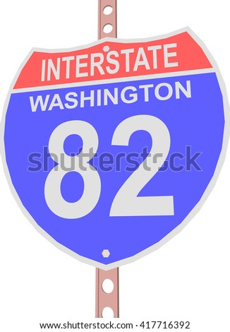 Interstate highway 82 road sign in Washington