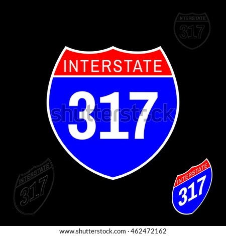 Interstate sign. Isolated on black background. Vector colorful illustration.