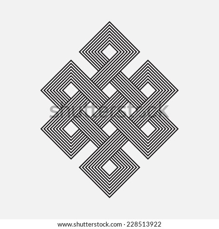 Intertwined pattern, square vector element - stock vector