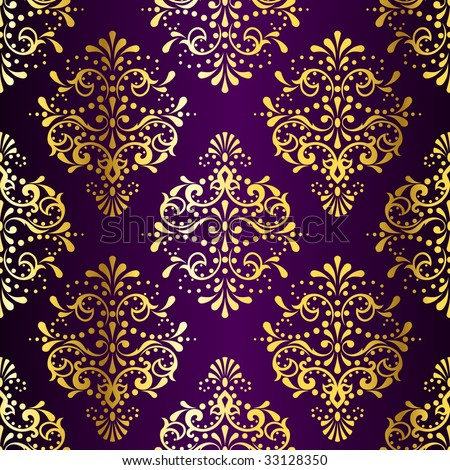 Intricate Gold-on-Purple seamless sari pattern (vector); a JPG version is also available  - stock vector
