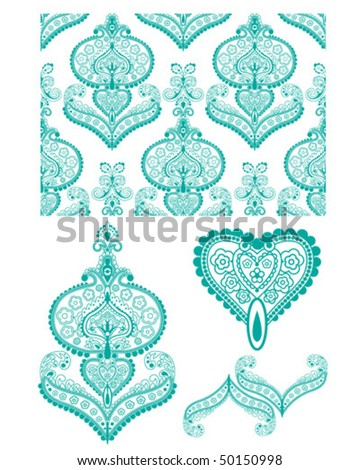 Intricate Indian pattern. Perfect for Wallpaper, Textiles or paper-craft projects.