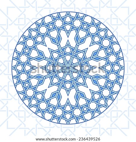 Intricate moorish eastern pattern. Vector background. Plain colors - easy to recolor. - stock vector