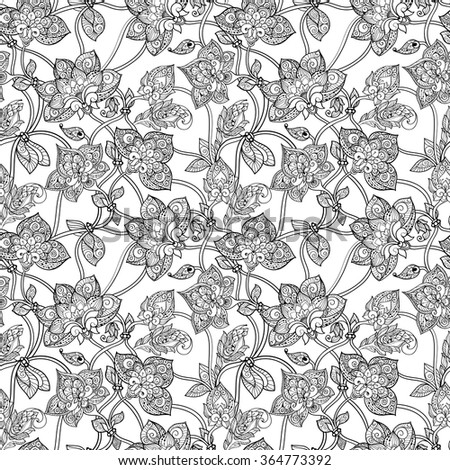 Intricate seamless pattern with decorative stylized flowers black and white monochrome - stock vector