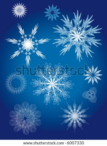 Intricate Vector Snowflakes - stock vector