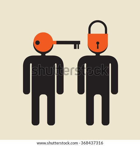introvert vs   extrovert   or personal key, individual approach - stock vector