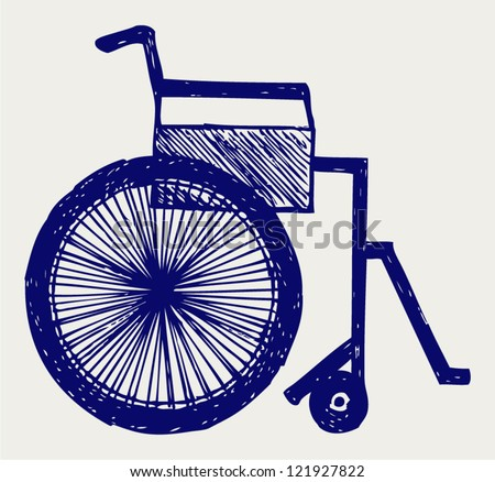 Invalid chair. Doodle style - stock vector