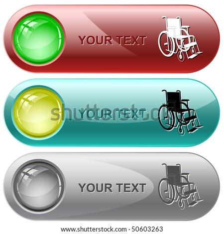 Invalid chair. Vector internet buttons. - stock vector