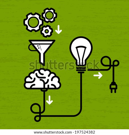 Invention mechanism with light bulb, brain and electric plug - stock vector