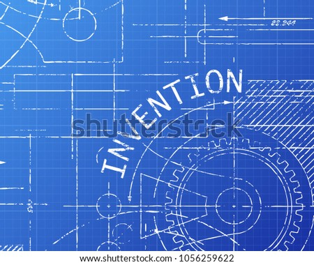 Invention text gear wheels hand drawn stock vector 1056259622 invention text with gear wheels hand drawn on blueprint technical drawing background malvernweather Gallery