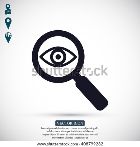 Investigate vector icon. Style is flat rounded symbol,  - stock vector