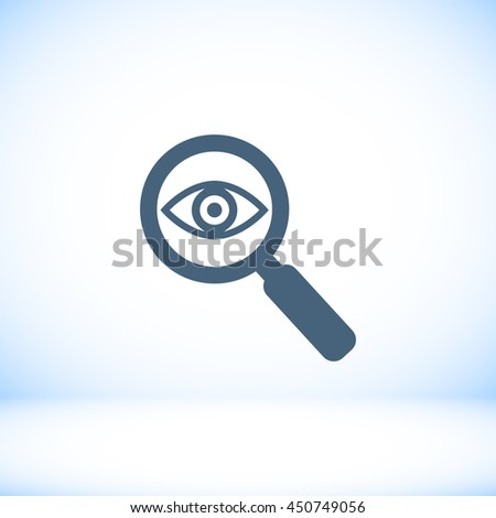 Investigate vector icon. Style is flat rounded symbol, black col - stock vector