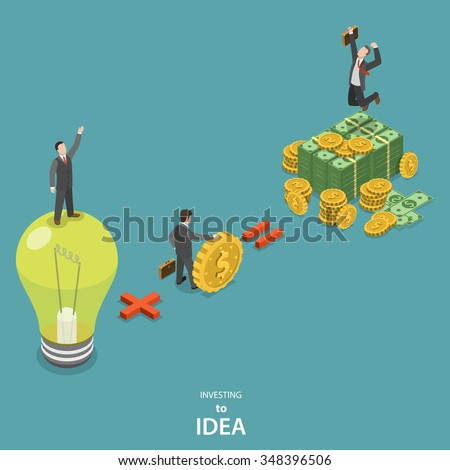 Investing into idea isometric flat vector concept. Idea plus investor is a huge profit. - stock vector
