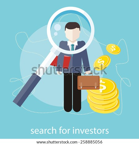 Investment analysis concept with magnifying glass and businessman with briefcase and dollar bills. Search for investors concept in flat design - stock vector