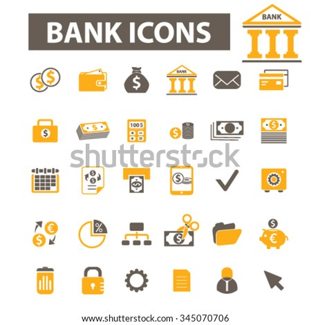 investment, bank, trading, investor, wealth, deposit, market, payment, bankir, cash, finance, money, check, wallet icons, signs vector concept set for  mobile, website, application