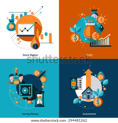 Investment design concept set with money saving and stock market profit flat icons isolated vector illustration - stock vector