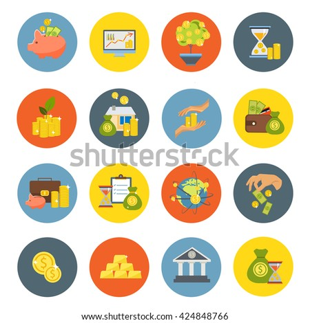Investment flat isolated icon set with bank or business financial equipment money and attachments vector illustration