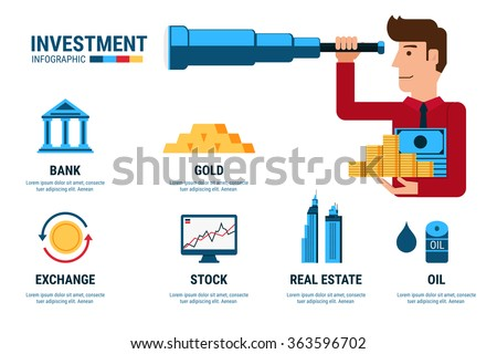Investment Infographics. Businessman using telescope looking for investment.  Cartoon Vector Illustration. - stock vector