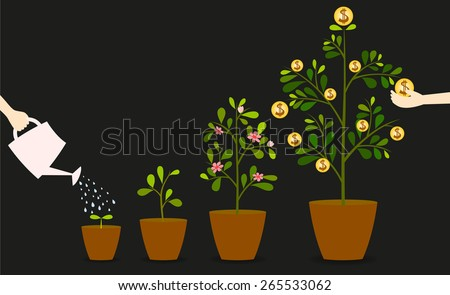Investment is like planting trees. Take care it will provide a good growth. - stock vector