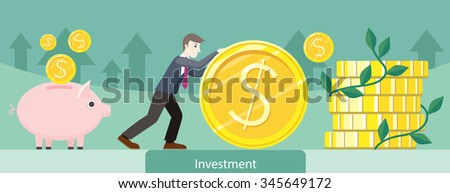 Investment money coin gold design. Investment concept, finance investor, stock market, savings, business bank, currency and wealth, market dollar, treasure and earning illustration - stock vector