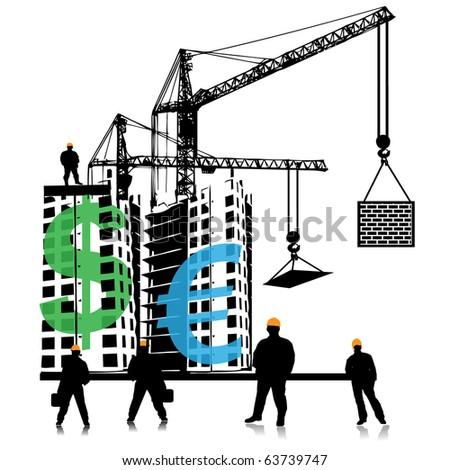 Investment of money in building - stock vector