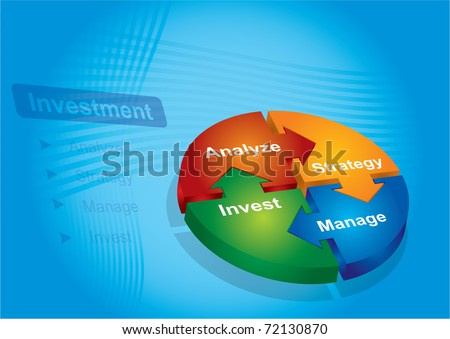 Investment package - abstract illustration with color chart - stock vector