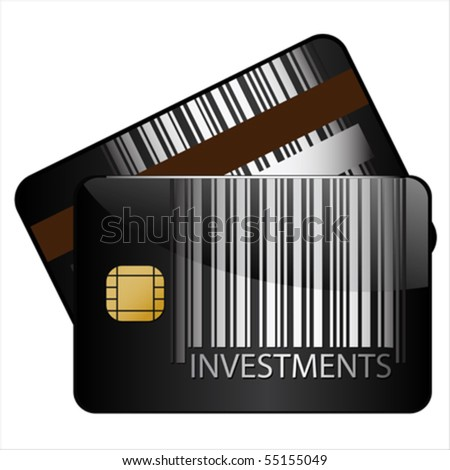 investments bar-code credit card, Isolated over background and groups, vector ILLUSTRATION - stock vector