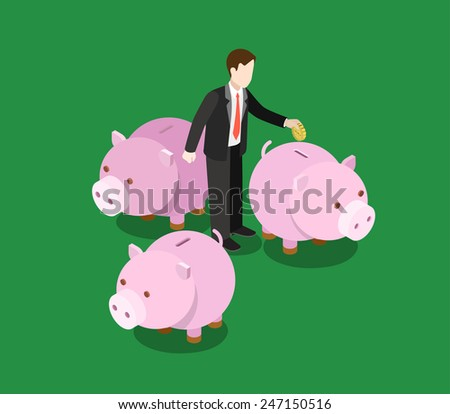 Investor making decision, choose invest sector flat 3d web isometric infographic concept vector. Businessman stands among moneyboxes. Creative people financial monetary piggy bank savings collection. - stock vector