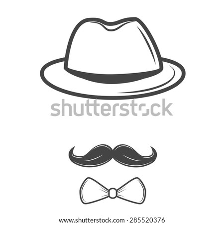 Invisible man. Hipster retro hat  with mustache. - stock vector
