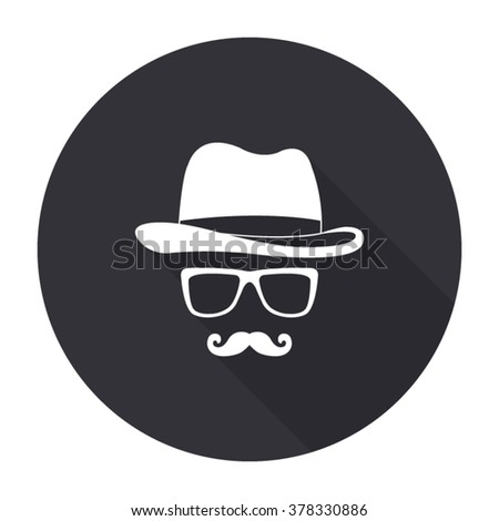 invisible man with hat glasses and mustaches icon with long shadow - vector round button - stock vector
