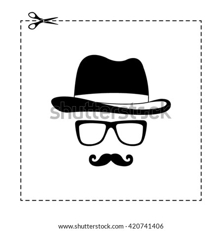 invisible man with hat glasses and mustaches vector icon - stock vector