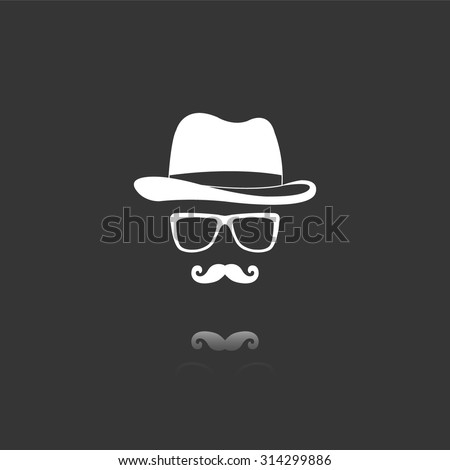 invisible man with hat glasses and mustaches vector icon with mirror reflection - stock vector