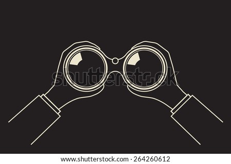 invisible observer looking through night vision  binoculars  - stock vector