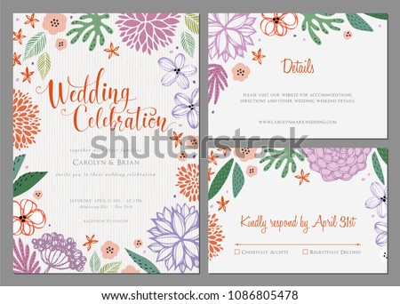 Invitation Universal Card Design Set Floral Stock Vector 1086805478