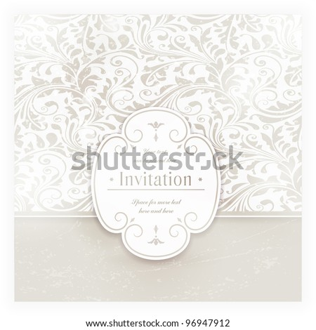 Invitation, anniversary card with label for your personalized text in shades of subtle off-whites and beige with a delicate seamless floral pattern in the background and grunge elements. EPS10 - stock vector