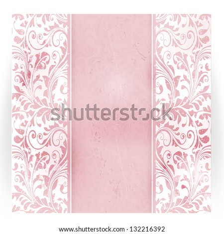 Invitation, anniversary card with space for your personalized text in shades of subtle off-white and pink with a delicate floral pattern and grunge elements. - stock vector