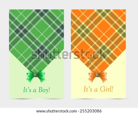 Invitation baby green and orange cards with bow, tartan, button. Greeting cards with the birth of a baby boy and a baby girl - stock vector