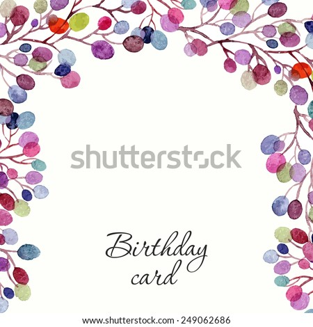 Invitation. Birthday card. Floral frame. Watercolor background with flowers. - stock vector