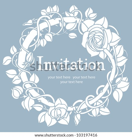 Invitation blue card - stock vector