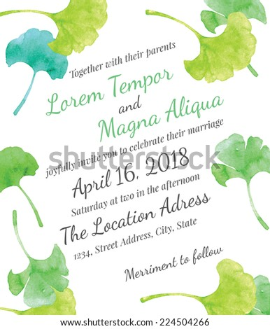 Invitation bridal shower card with ginkgo leaves vector template - for invitations, flyers, postcards, cards and so on - stock vector