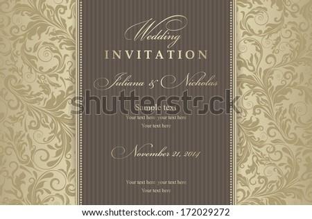 Invitation card Baroque gold - stock vector