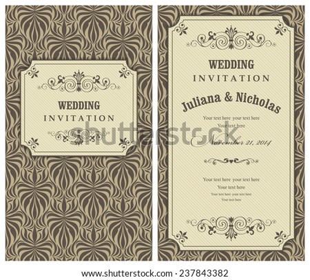 Invitation card Baroque gold and brown  - stock vector