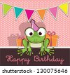 Invitation card, birthday party with cute frog - stock vector