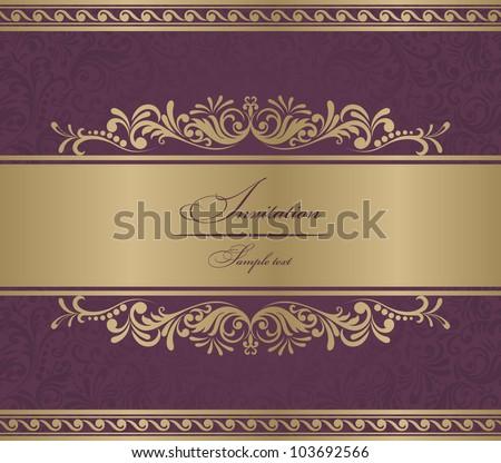 Invitation Card burgundy baroque - stock vector