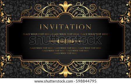 Invitation card design luxury black gold stock vector 598844795 invitation card design luxury black gold stock vector 598844795 shutterstock stopboris Images