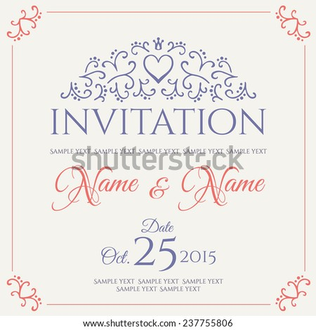 Invitation card design. Vector illustration.