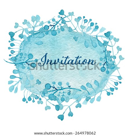 Invitation card. Floral wreath watercolor hand drawn. Spring or summer design for invitation, wedding or greeting cards. Eps10 - stock vector