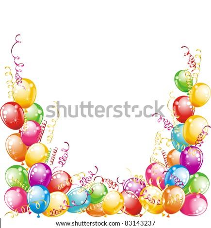 Invitation card for birthdays. Balloons design - stock vector