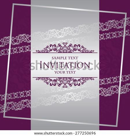 Invitation card. Modern invitation with vintage borders. Original design. Wedding invitation  - stock vector
