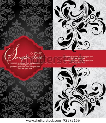 INVITATION CARD ON ABSTRACT FLORAL BACKGROUND - stock vector